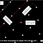 Drilling example of Cu-foil with roll-to-roll laser machine:WIRED Co.,Ltd.